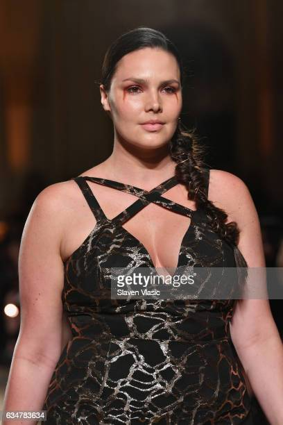 Model Candice Huffine walks the runway for the Christian Siriano collection during New York Fashion Week The Shows at The Plaza Hotel on February 11...