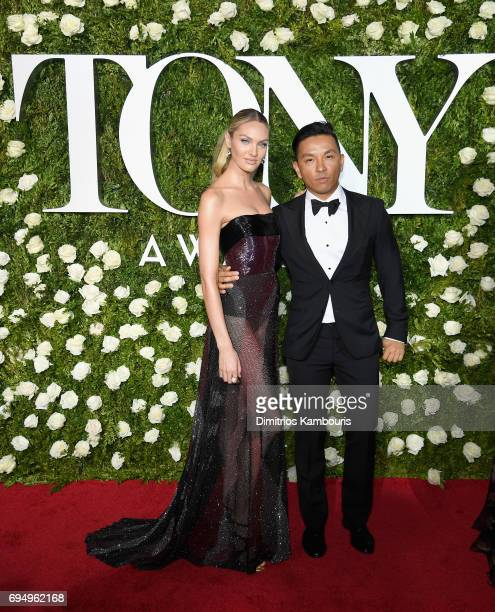 Model Candice Swanepoel and fashion designer Prabal Gurung attend the 2017 Tony Awards at Radio City Music Hall on June 11 2017 in New York City