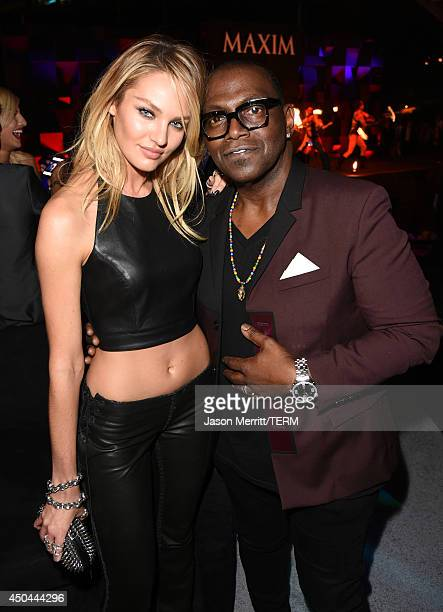 Model Candice Swanepoel and Randy Jackson attend Maxim's Hot 100 Women of 2014 celebration and sneak peek of the future of Maxim at Pacific Design...