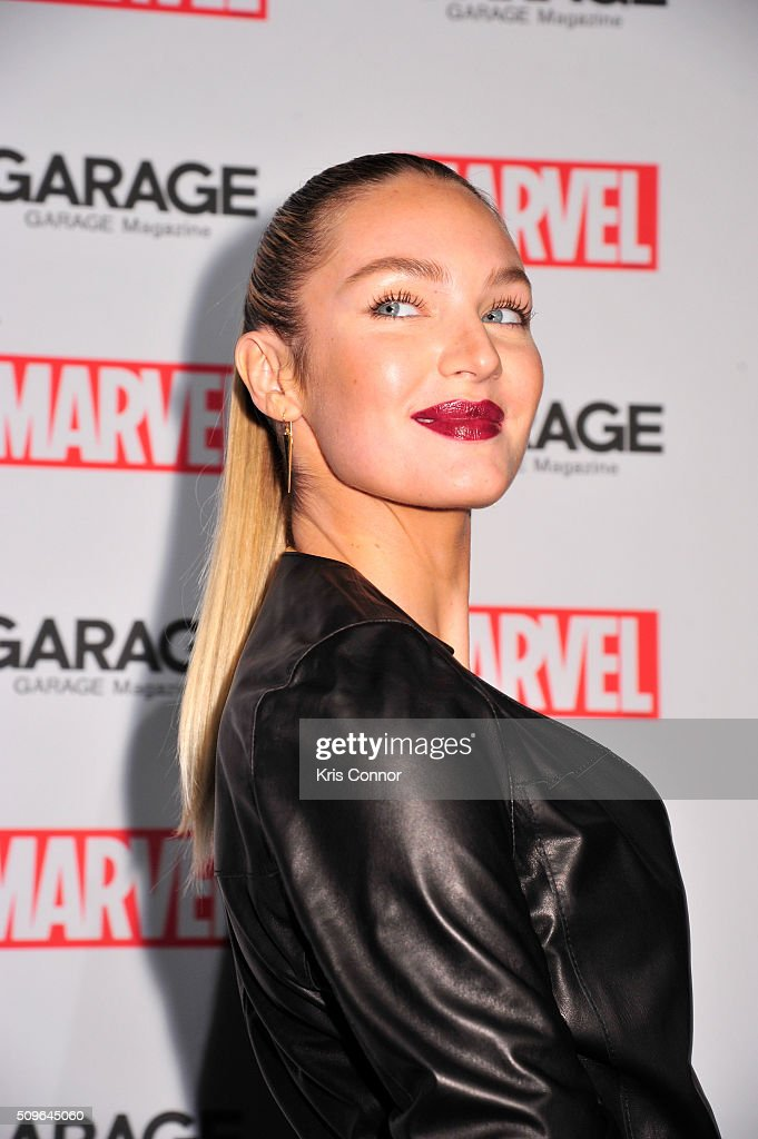 Model <a gi-track='captionPersonalityLinkClicked' href=/galleries/search?phrase=Candice+Swanepoel&family=editorial&specificpeople=4357958 ng-click='$event.stopPropagation()'>Candice Swanepoel</a> attends the Marvel and Garage Magazine New York Fashion Week Event on February 11, 2016 in New York City.