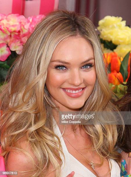 Model Candice Swanepoel attends the Victoria's Secret Beauty Heavenly Flowers launch at Victoria's Secret Soho on April 24 2010 in New York City