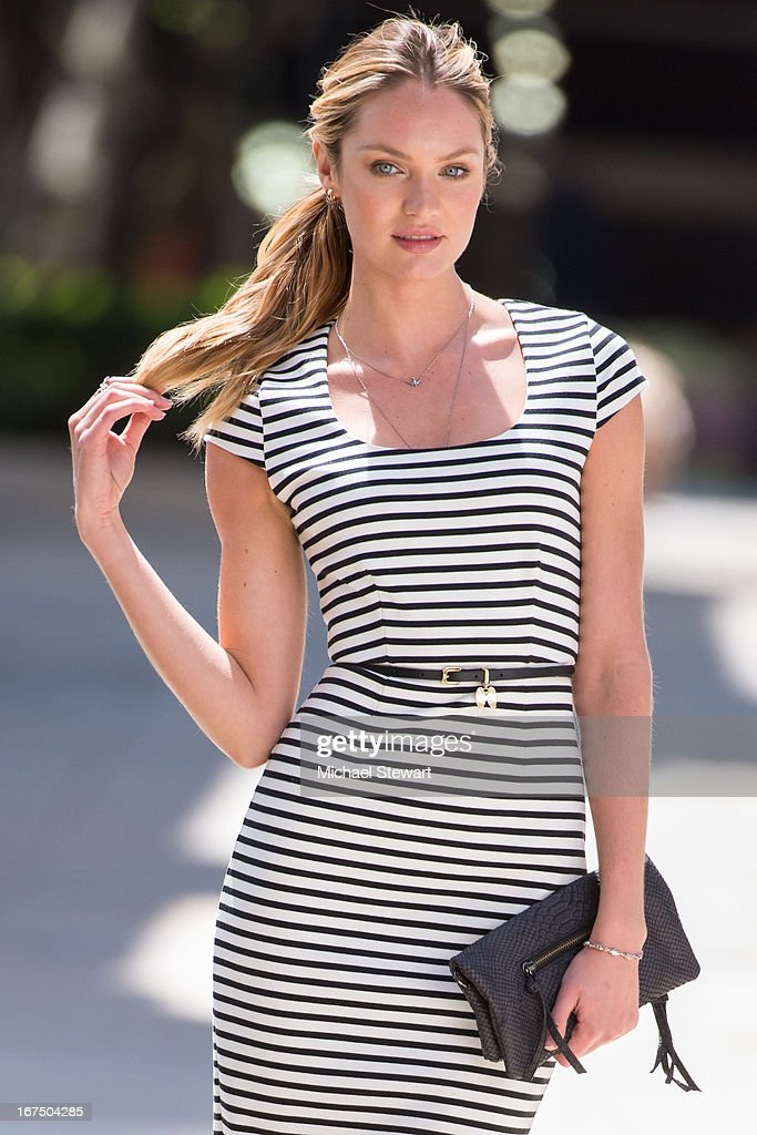 Model Candice Swanepoel is seen on the set of a Victoria's Secret photo shoot on April 25, 2013 in New York City.