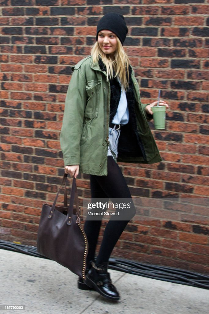 Model <a gi-track='captionPersonalityLinkClicked' href=/galleries/search?phrase=Candice+Swanepoel&family=editorial&specificpeople=4357958 ng-click='$event.stopPropagation()'>Candice Swanepoel</a> seen arriving at rehearsals for the 2013 Victoria's Secret Fashion Show on November 12, 2013 in New York City.