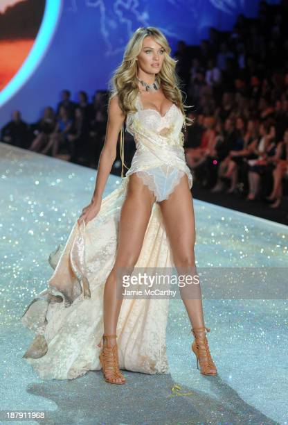 Model Candice Swanepoel walks the runway at the 2013 Victoria's Secret Fashion Show at Lexington Avenue Armory on November 13 2013 in New York City