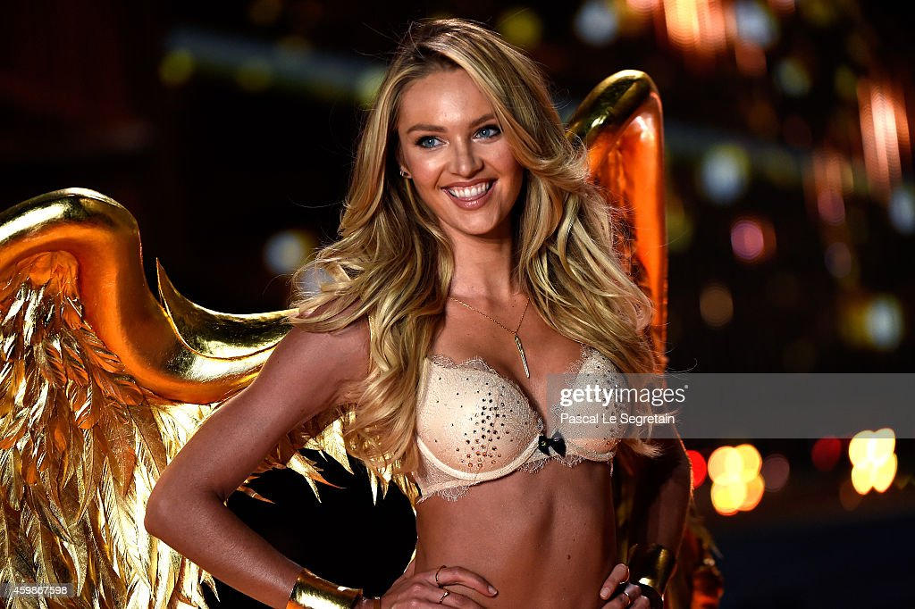 Model <a gi-track='captionPersonalityLinkClicked' href=/galleries/search?phrase=Candice+Swanepoel&family=editorial&specificpeople=4357958 ng-click='$event.stopPropagation()'>Candice Swanepoel</a> walks the runway at the annual Victoria's Secret fashion show at Earls Court on December 2, 2014 in London, England.