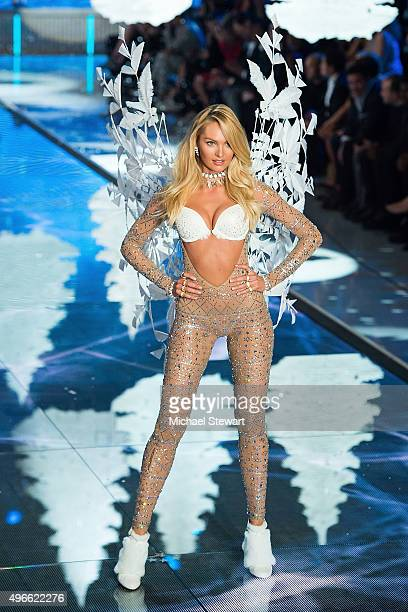 Model Candice Swanepoel walks the runway during the 2015 Victoria's Secret Fashion Show at the Lexington Armory on November 10 2015 in New York City