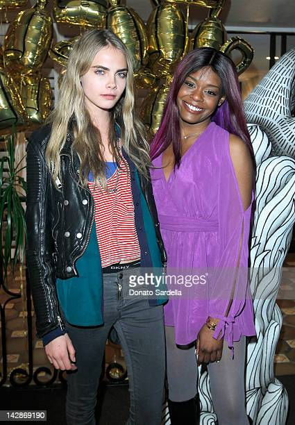 Model Cara Delevingne and singer Azealia Banks attend Mulberry Firepit Party at Coachella at the Parker Palm Springs on April 13 2012 in Palm Springs...