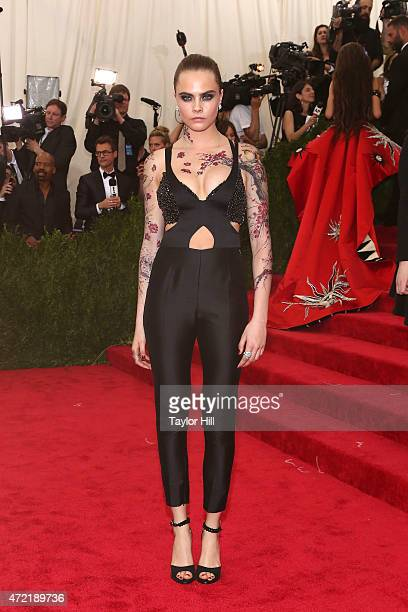 Model Cara Delevingne attends 'China Through the Looking Glass' the 2015 Costume Institute Gala at Metropolitan Museum of Art on May 4 2015 in New...