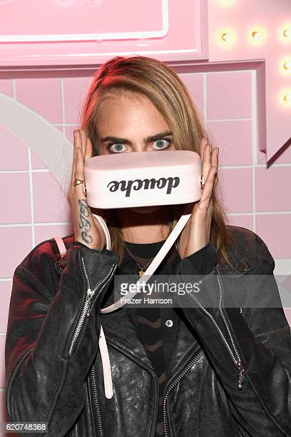 Model Cara Delevingne attends Poppy Jamie Suki Waterhouse Leo Seigal and Cade Hudson celebration of the launch of POP SUKI on November 2 2016 in Los...