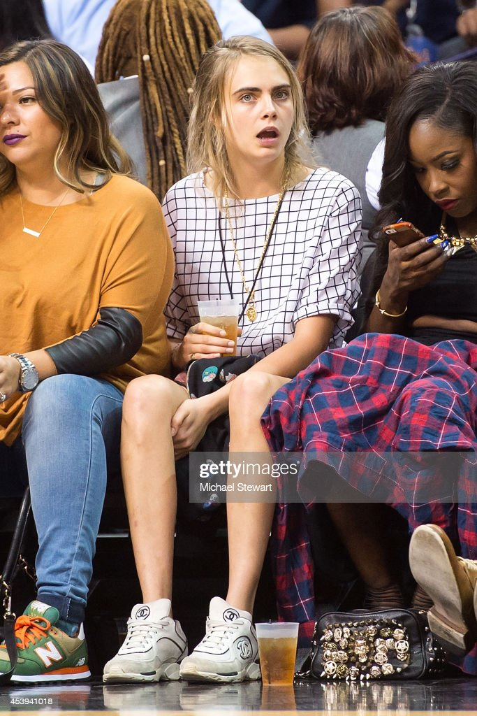 Model <a gi-track='captionPersonalityLinkClicked' href=/galleries/search?phrase=Cara+Delevingne&family=editorial&specificpeople=5488432 ng-click='$event.stopPropagation()'>Cara Delevingne</a> attends the 2014 Summer Classic Charity Basketball Game at Barclays Center on August 21, 2014 in New York City.