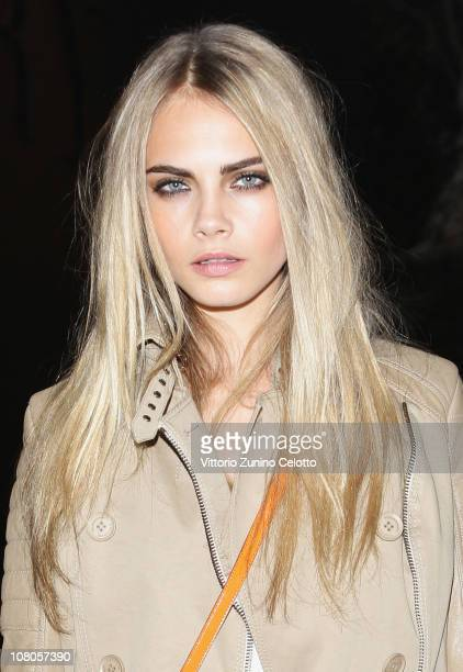 Model Cara Delevingne attends the Burberry Prorsum Fashion Show as part of Milan Fashion Week Menswear A/W 2011 on January 15 2011 in Milan Italy