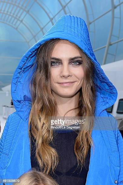 Model Cara Delevingne attends the Chanel show as part of the Paris Fashion Week Womenswear Spring/Summer 2016 on October 6 2015 in Paris France
