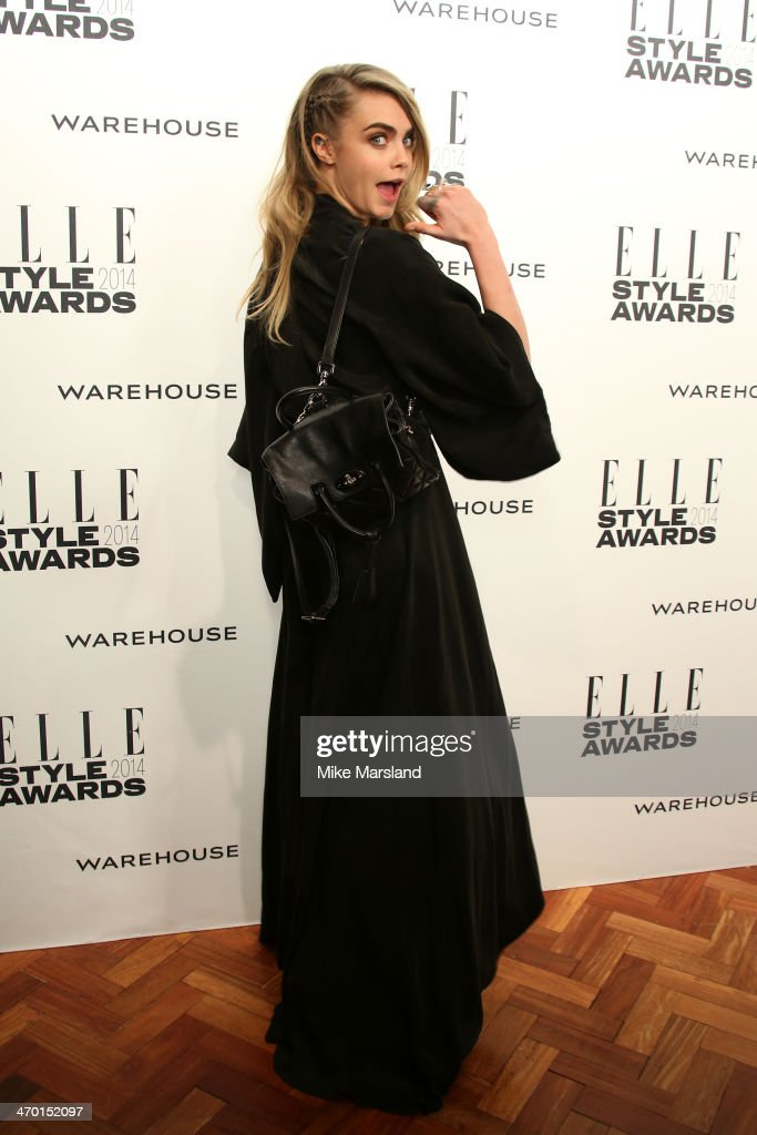 Model <a gi-track='captionPersonalityLinkClicked' href=/galleries/search?phrase=Cara+Delevingne&family=editorial&specificpeople=5488432 ng-click='$event.stopPropagation()'>Cara Delevingne</a> attends the Elle Style Awards 2014 at one Embankment on February 18, 2014 in London, England.
