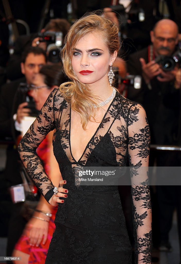 Model Cara Delevingne attends the Opening Ceremony and Premiere of 'The Great Gatsby' at The 66th Annual Cannes Film Festival at Palais des Festivals on May 15, 2013 in Cannes, France.