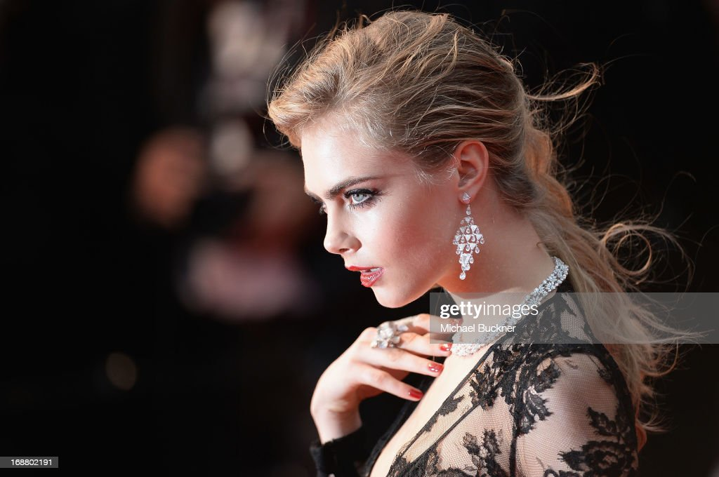 Model <a gi-track='captionPersonalityLinkClicked' href=/galleries/search?phrase=Cara+Delevingne&family=editorial&specificpeople=5488432 ng-click='$event.stopPropagation()'>Cara Delevingne</a> attends the Opening Ceremony and premiere of 'The Great Gatsby' during the 66th Annual Cannes Film Festival at Palais des Festivals on May 15, 2013 in Cannes, France.