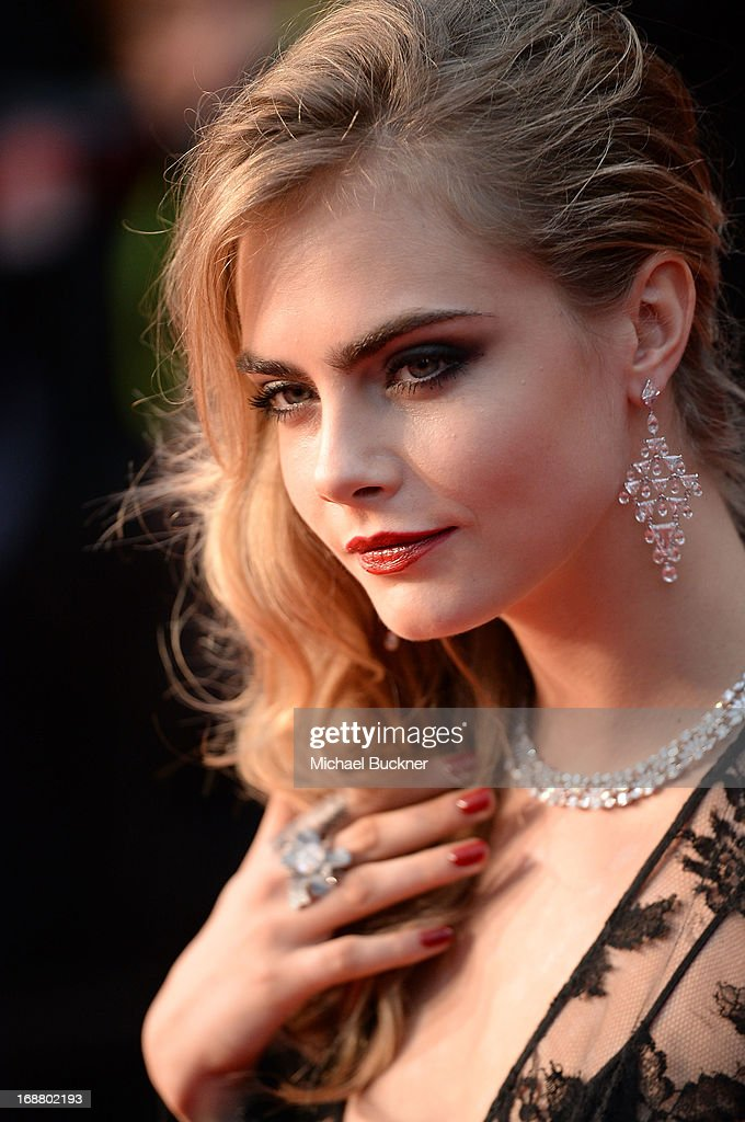 Model Cara Delevingne attends the Opening Ceremony and premiere of 'The Great Gatsby' during the 66th Annual Cannes Film Festival at Palais des Festivals on May 15, 2013 in Cannes, France.