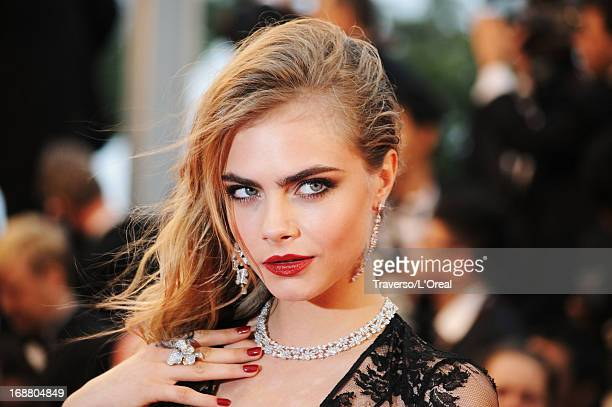 Model Cara Delevingne attends the Opening Ceremony and 'The Great Gatsby' Premiere during the 66th Annual Cannes Film Festival at the Theatre Lumiere...