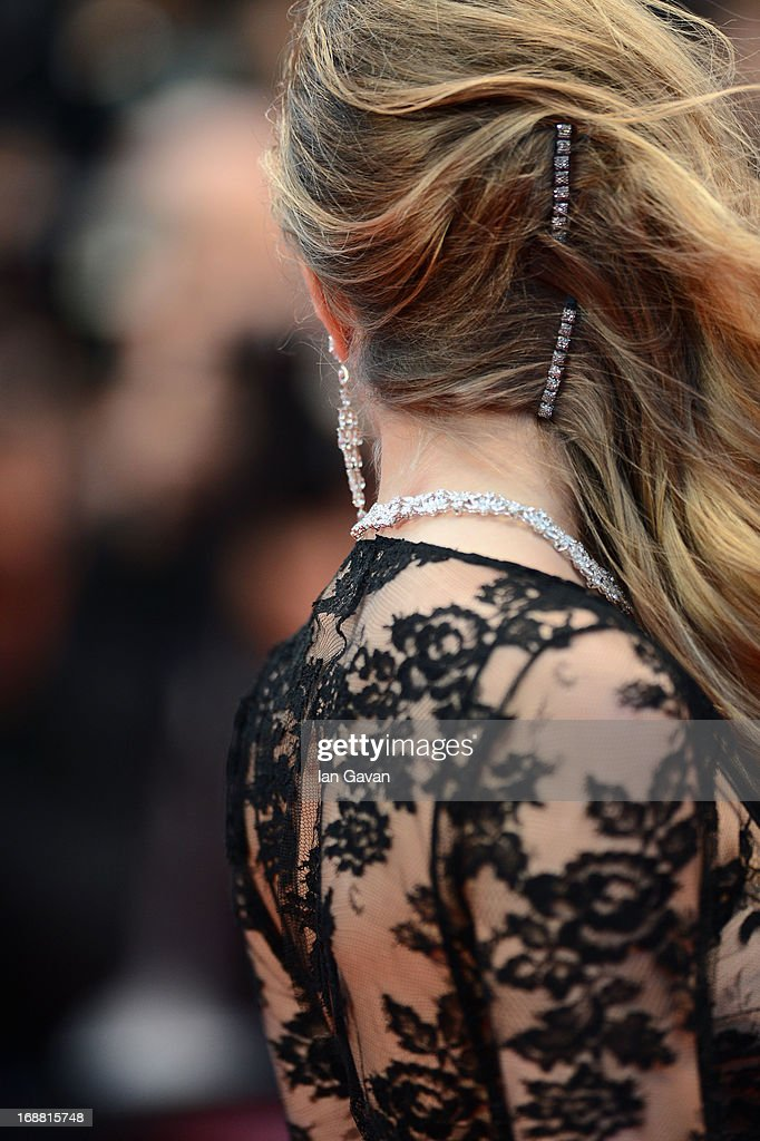 Model Cara Delevingne (hair detail) attends the Opening Ceremony and 'The Great Gatsby' Premiere during the 66th Annual Cannes Film Festival at the Theatre Lumiere on May 15, 2013 in Cannes, France.