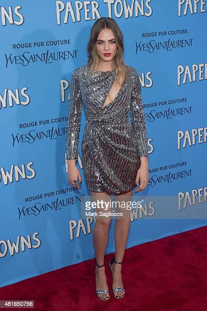 Model Cara Delevingne attends the 'Paper Towns' New York Premiere at the AMC Loews Lincoln Square on July 21 2015 in New York City