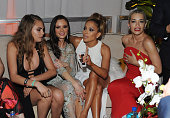 Model Cara Delevingne designer Georgina Chapman singer Jennifer Lopez and singer Rita Ora attend The Weinstein Company Netflix's 2015 Golden Globes...