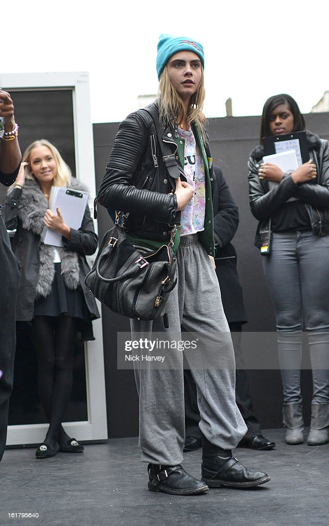 Model <a gi-track='captionPersonalityLinkClicked' href=/galleries/search?phrase=Cara+Delevingne&family=editorial&specificpeople=5488432 ng-click='$event.stopPropagation()'>Cara Delevingne</a> during London Fashion Week Fall/Winter 2013/14 at Somerset House on February 16, 2013 in London, England.