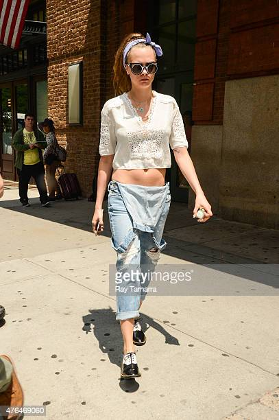 Model Cara Delevingne leaves a Tribeca hotel on June 9 2015 in New York City