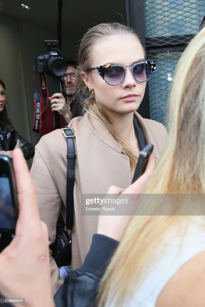 Model <a gi-track='captionPersonalityLinkClicked' href=/galleries/search?phrase=Cara+Delevingne&family=editorial&specificpeople=5488432 ng-click='$event.stopPropagation()'>Cara Delevingne</a> sighting during the Milan Fashion Week Womenswear Autumn/Winter 2014 on February 20, 2014 in Milan, Italy.
