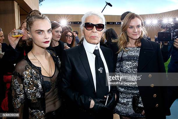 Model Cara Delevingne Stylist Karl Lagerfeld and Actress Diane Kruger attend the Chanel Spring Summer 2016 show as part of Paris Fashion Week on...