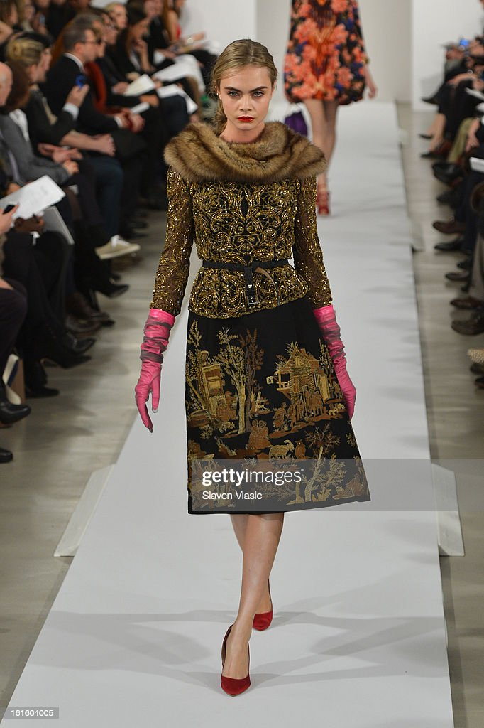 Model <a gi-track='captionPersonalityLinkClicked' href=/galleries/search?phrase=Cara+Delevingne&family=editorial&specificpeople=5488432 ng-click='$event.stopPropagation()'>Cara Delevingne</a> walks the runway at the Oscar De La Renta Fall 2013 fashion show during Mercedes-Benz Fashion Week at 11 West 42nd Street on February 12, 2013 in New York City.