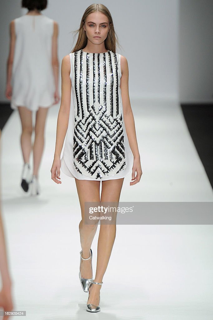 Model <a gi-track='captionPersonalityLinkClicked' href=/galleries/search?phrase=Cara+Delevingne&family=editorial&specificpeople=5488432 ng-click='$event.stopPropagation()'>Cara Delevingne</a> walks the runway at the Vanessa Bruno Autumn Winter 2013 fashion show during Paris Fashion Week on March 1, 2013 in Paris, France.