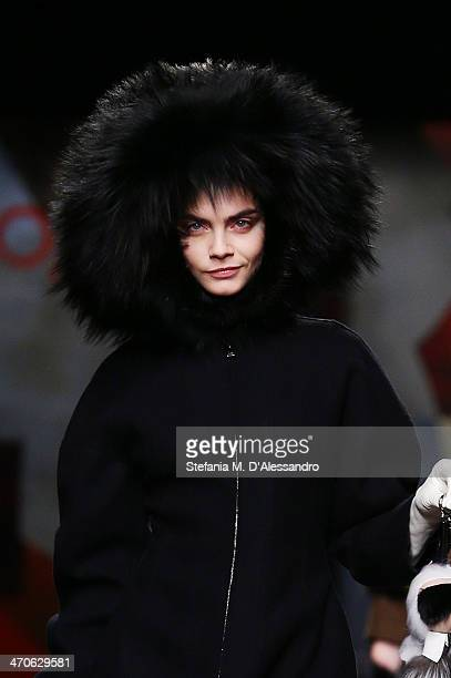 Model Cara Delevingne walks the runway during the Fendi show as part of Milan Fashion Week Womenswear Autumn/Winter 2014 on February 20 2014 in Milan...