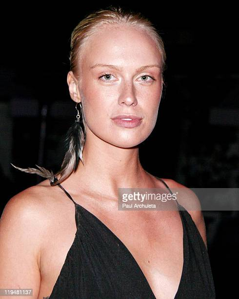 Model CariDee English attends the west coast launch party for the luxury vegan handbag line 'Gunas' at the SkyBar at the Mondrian Los Angeles on July...