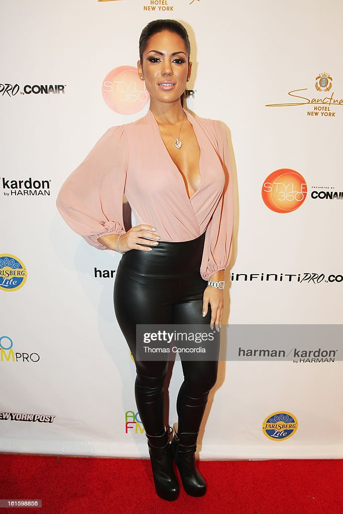 Model Carissa Rosario attends the Tumbler And Tipsy By Michael Kuluva Fashion Show At CONAIR STYLE360 at STYLE360 presented by Conair Fashion Pavilion on February 12, 2013 in New York City.