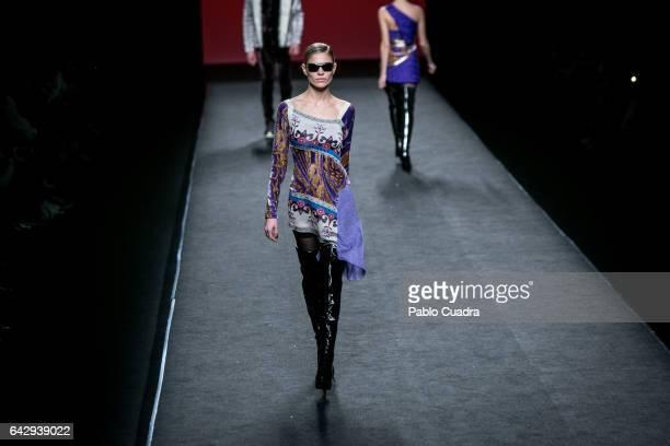 Model Carla Pereira walks the runway at the Custo Barcelona show during the MercedesBenz Madrid Fashion Week Autumn/Winter 2017 at Ifema on February...
