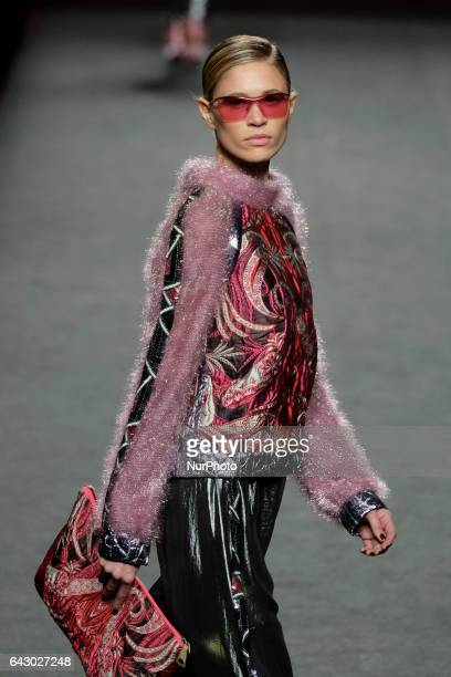 Model Carla Pereira walks the runway at the Custo Barcelona show during the MercedesBenz Madrid Fashion Week Autumn/Winter 2017 at Ifema on February...