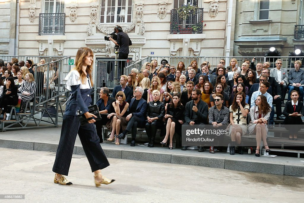 Model Caroline de Maigret walking the runway front of Anna Wintour, Baz Luhrmann, his wife Catherine Martin, Astrid Berges-Frisbey, guest, Xavier Dolan and Anna Mouglalis attend the Chanel show as part of the Paris Fashion Week Womenswear Spring/Summer 2015 on September 30, 2014 in Paris, France.