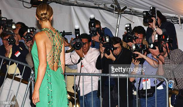 Model Carolyn Murphy arrives for 'Goddess Costume Institute Benefit Gala' at the Metropolitan Museum of Art Costume April 28 2003 in New York City