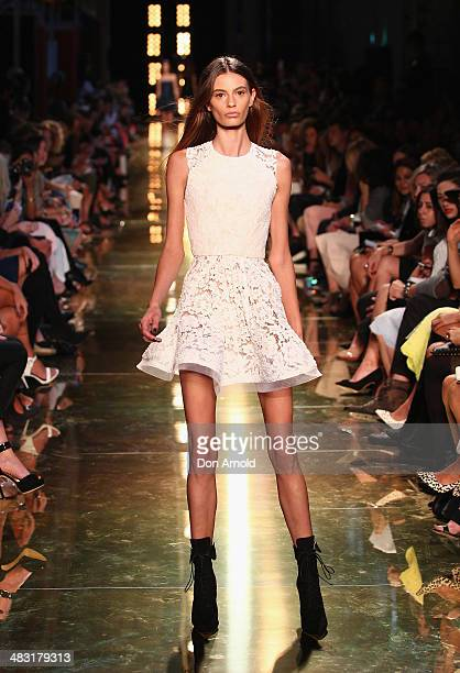 A model walks the runway at the Alex Perry show during MercedesBenz Fashion Week Australia 2014 at Carriageworks on April 7 2014 in Sydney Australia