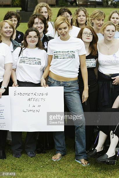 Model Catalina Guirado supports women lobbying MPs in support of UK's two million endometriosis sufferers outside parliament July 2 2003 in London