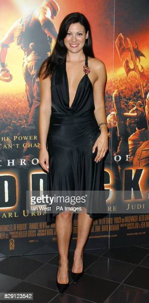 Model Catherine McQueen arrives for the premiere of The Chronicles Of Riddick at the Vue West End in Leicester Square central London