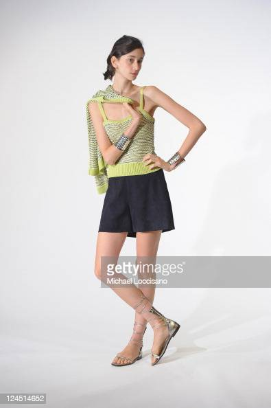 Model Cecilia Mendez poses during the Lyn Devon Spring 2012 presentation during MercedesBenz Fashion Week at W Hotel Times Square on September 10...