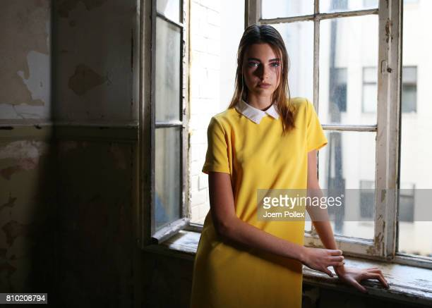 Model Celine Bethmann poses backstage ahead of the Franziska Michael show during the MercedesBenz Fashion Week Berlin Spring/Summer 2018 at Kaufhaus...