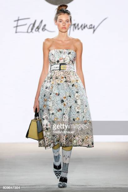 Model Celine Bethmann walks the runway at the Edda Gimnes show 'Designer for Tomorrow' by Peek Cloppenburg and Fashion ID during MercedesBenz Fashion...
