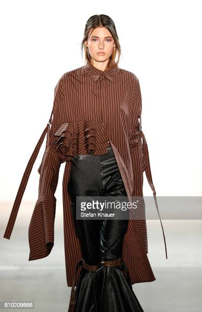 Model Celine Bethmann walks the runway at the Franziska Michael show during the MercedesBenz Fashion Week Berlin Spring/Summer 2018 at Kaufhaus...