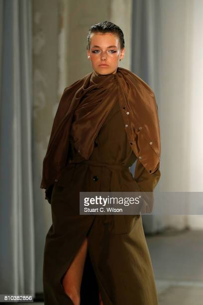 Model Celine Bethmann walks the runway at the Michael Sonntag show during the MercedesBenz Fashion Week Berlin Spring/Summer 2018 at Kaufhaus Jandorf...