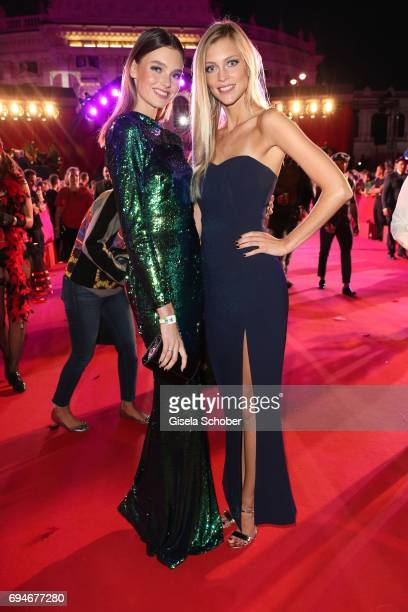 Model Celine Bethmann winner GNTM and Serlina Hohmann Germany's next topmodel during the Life Ball 2017 at City Hall on June 10 2017 in Vienna Austria