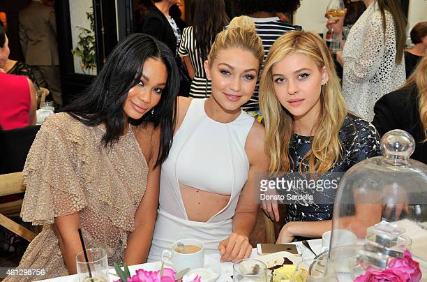 Model Chanel Iman actress Gigi Hadid and actress Nicola Peltz attend Lynn Hirschberg Celebrates W's It Girls with Piaget and Dom Perignon at AOC on...