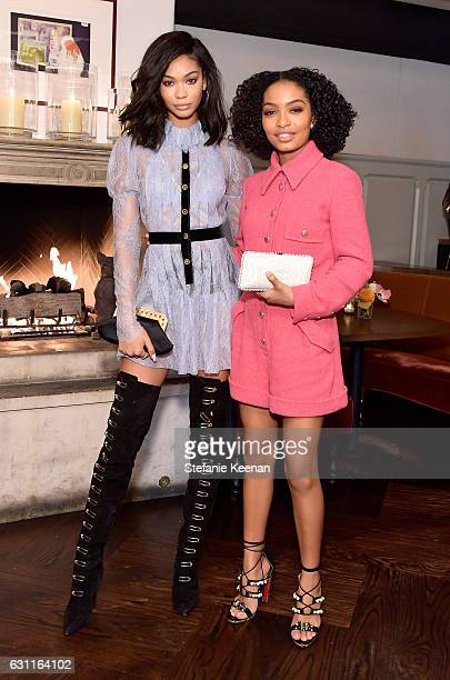 Model Chanel Iman and actress Yara Shahidi attend Lynn Hirschberg Celebrates W Magazine's It Girls with Stuart Weitzman at AOC on January 7 2017 in...