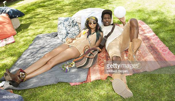 Model Chanel Iman and Recording Artist ASAP Rocky attend the Spotify Brunch at Soho Desert House with Bacardi Day 2n April 12 2014 in La Quinta...