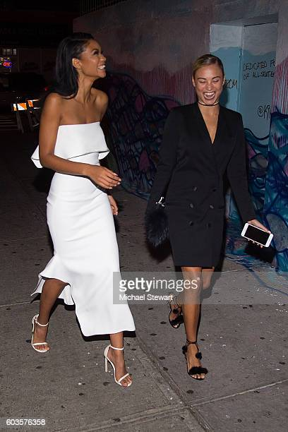 Model Chanel Iman and Rose Bertram are seen in the Meatpacking District on September 12 2016 in New York City